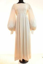 70s Ronald Amey Haute Couture Evening Gown Silk Satin Bishop Sleeves Sz S