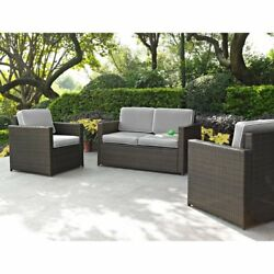 Crosley Furniture Palm Harbor All Weather Wicker 3 Piece Outdoor Sofa Set