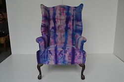 2 Queen Anne Vintage Wing back Chairs Italian Leather Suede Pair Purple Pink