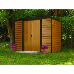 Storage Shed Outdoor Garden Building Steel Wood Design Backyard Tools 6 by 5 Ft