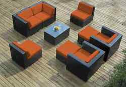 Ohana Outdoor Patio Wicker Furniture 9pc  Seating  Sectional with Orange Cushion