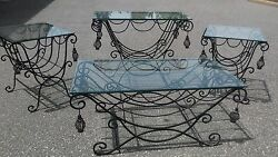 Rare Set Vintage Living Room  Patio Spanish Revival Wrought Iron Tables