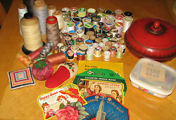 Vintage Large Mixed Lot of Sewing Supplies...Sewing Box