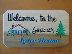 Lake House carved Personalized wood signhousecabinman caveshe shedden etc