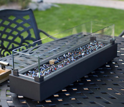 Black Tabletop Gas Fire Pit Outdoor Steel & Glass Propane Fireplace W Cover