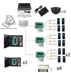 16 Doors Security Entry Systems Exit Motion Sensor 280kg Magnetic Lock Power Box