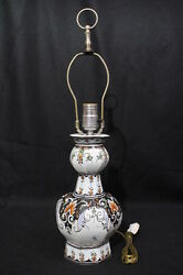 Vintage Baldwin Hand Painted DELFT Style Table Lamp Forged in America 22quot; $149.99