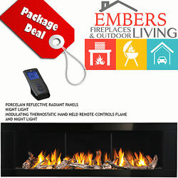 NAPOLEON LHD62 LINEAR GAS FIREPLACE MODERN BLACK SURROUND DRIFTWOOD DIRECT VENT