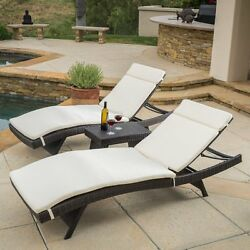 Best Selling Home Decor Halulu Wicker 3 Piece Chaise Lounge Set with Cushion