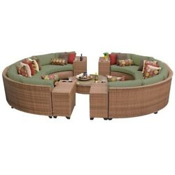 TKC Laguna 11 Piece Outdoor Wicker Sofa Set in Cilantro