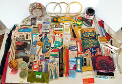 Huge Estate Lot Vintage Sewing Supplies Notions Threads Needles Zippers Patches