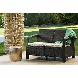 Outdoor Patio Love Seat Garden Furniture with Cushions Relaxing For Two Brown