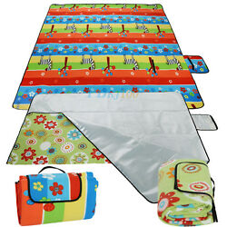 Large Camping Mat Picnic Floral Blanket Foldable Baby Climb Blanket Outdoor Rug