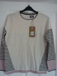 MANTARAY IVORY BUTTON BACK STRIPED TRIM JUMPER SWEATER UK 18 EUR 44-46 US 14 NWT