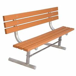 Commercial Park 6-Feet Cedar Recycled Plastic Back Surface Mount Portable Bench