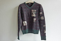 RAF by RAF SIMONS Mens Wool Multicolour Sweater w Patches Sz L