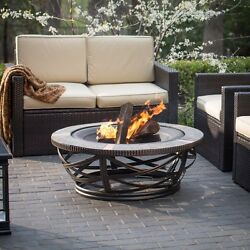 Patio Fire Pit Large Round 40 In. Diameter Wood Burning Deck Porch Heater