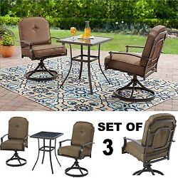 3 Piece Bistro Set Outdoor Patio Furniture Swivel Chairs Table Garden Deck 1d
