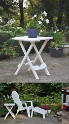 Side Table Patio Chair Quick Folding White Adirondack Chaise Lounges Stool Pool!