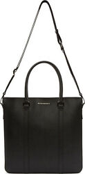 New BURBERRY UNI Black Leather KENNETH Messenger Lap-Top Cross-Body Tote Bag