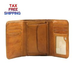 Tony Perotti Mens Italian Cow Leather Trifold Clutch Wallet with ID and Coin...