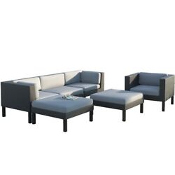 CorLiving Oakland 6 pc Sofa Chaise Lounge Chair Patio Set Metal Outdoor Sets