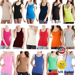 Nikibiki New Womens Seamless Jersey Long Length Tank Top Layering Oneamp;Plus Size $17.95