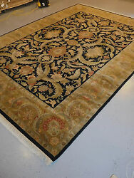 Wonderful Agra rug wool handmade 10 x 14 carpet black and olive gently used