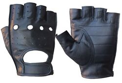 MENS COWHIDE LEATHER FINGERLESS DRIVING MOTORCYCLE BIKER GLOVES NEW XS 3XL $10.99