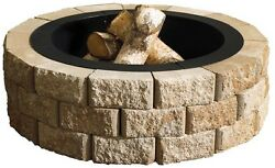 Round Fire Pit Kit Outdoor Backyard Wood Burning Bond Fire Hudson Stone 40 in.