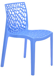 Patio Chairs Indoor Outdoor Set Of 4 Blue Stackable Dining Cafe Garden Porch