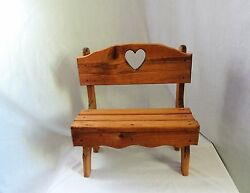 Vintage Wood Doll Bear Bench Garden Yard Planter Chair Heart Shaped Backing