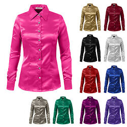 NE PEOPLE Womens Work Soft Long Sleeve Satin Blouse with Cuffs S 3XL NEWT74 $18.25