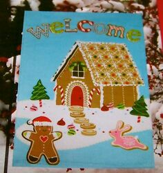 Gingerbread Man House Flag IndoorOutdoor 18 x 12.5