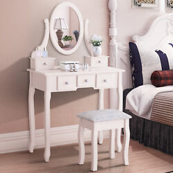 Ivory Bedroom Makeup Table Dressing Desk with Stool 5 Drawers and Oval Mirror