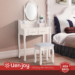 Ivory Bedroom Makeup Table Dressing Desk with Stool4 Drawers and Mirror Set