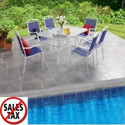Patio Furniture Dining Set Outdoor 7 Piece Garden Swivel Chairs Table Bistro 1d