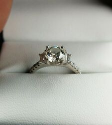 Fire and IceSylvie Diamond Platinum Girdle Enscribed Engagement Ring  GIA 1.7 C