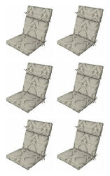 Premium Gray Nonya Patio Chair Cushions Set of 6 Outdoor Replacement Seats Pads