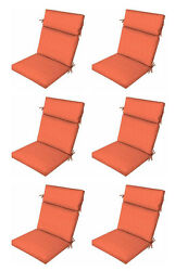 Premium Orange Patio Chair Cushions Set of 6 Outdoor Replacement Seats Pads