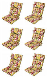 Premium Flora Patio Chair Cushions Set of 6 Outdoor Replacement Seats Pads
