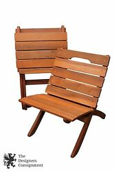 2 Redwood Modern Folding Deck Chairs Slatted Wood Pair Patio Beach Lounge