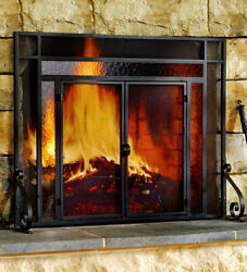 2-Door Steel Fireplace Fire Screen with Tempered Glass Accents Black