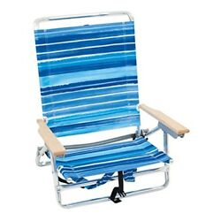 Rio Brands 5 Position Classic Lay Flat Beach Chair with Backpack Straps Stripe