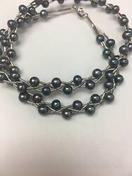 STERLING SILVER BRAIDED BLUE PEACOCK FRESHWATER BAROQUE PEARL BEAD NECKLACE 16