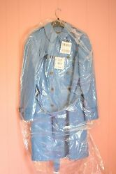JCrew Icon Trench Coat in Italian Wool Cashmere 14 L Large Heather Twilight Blue