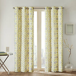 Intelligent Design Alana Grommet-Top One Curtain Panel 42inX84in YellowGray NEW