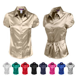 NE PEOPLE Womens Basic Short Sleeve Satin Blouse Top with Waist Tie NEWT194 $18.41