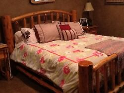 5 Piece Blonde Log King Sized Bedroom Suit: Bed Armoire Dresser 2 Night Stand