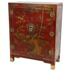 Oriental Furniture Nestling Birds Accent Chest in Red